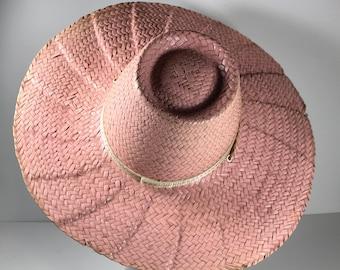 d9aaf9b3e8e83 Pink Straw Sun Hat . Wide Brim Woven . Summer Beach . 40s 50s