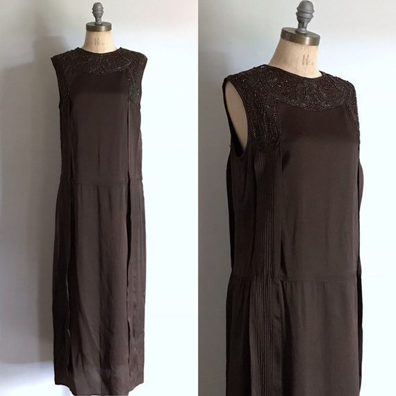 20s Dress . Beaded Brown Silk Flapper . 20s 1920s