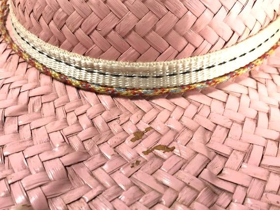 Pink Straw Sun Hat . Wide Brim Woven . Summer Bea… - image 7