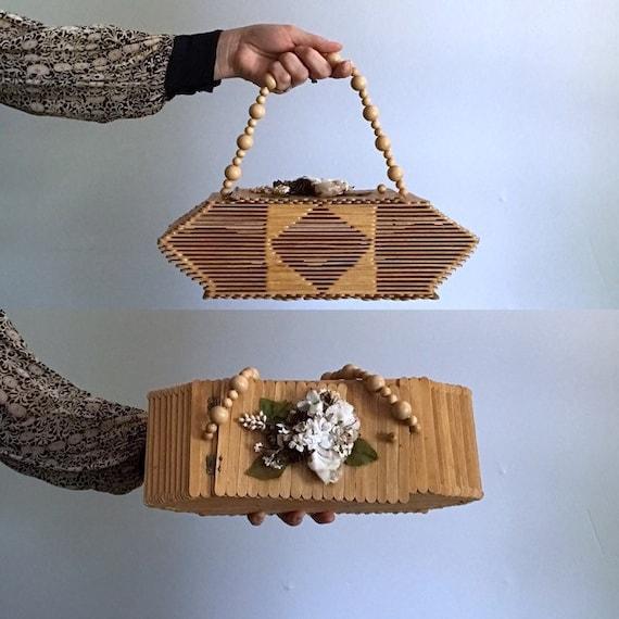 Popsicle Stick Purse Handbag . Wooden Folk Art