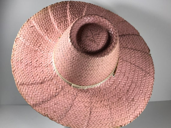 Pink Straw Sun Hat . Wide Brim Woven . Summer Beac