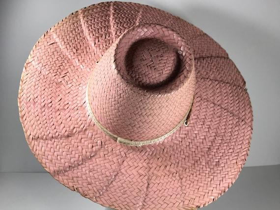 Pink Straw Sun Hat . Wide Brim Woven . Summer Bea… - image 1