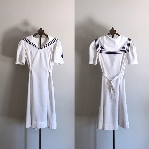 40s Sailor Dress . White Cotton . XS