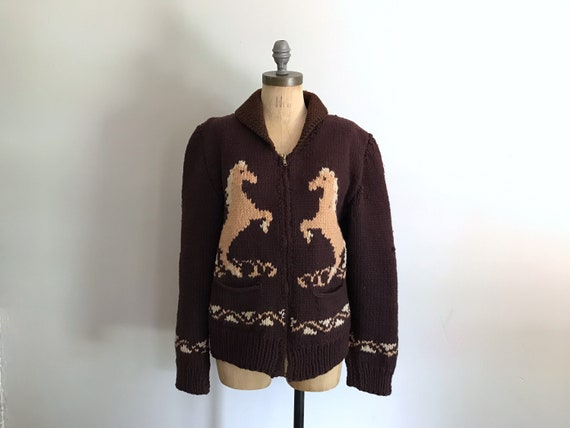 Horse Sweater Brown Knit Winter Zip Up Sweater