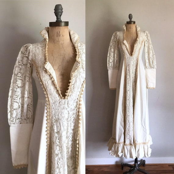 1970s Gunne Sax White Boho Wedding Dress