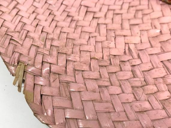 Pink Straw Sun Hat . Wide Brim Woven . Summer Bea… - image 6