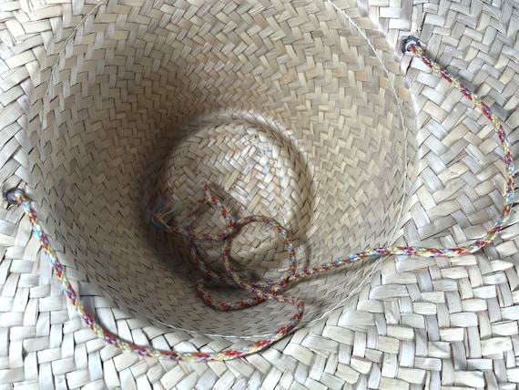 Pink Straw Sun Hat . Wide Brim Woven . Summer Bea… - image 8