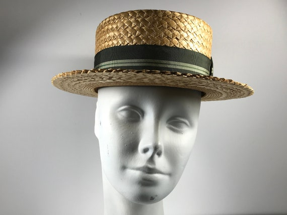 Mens 1920s Straw Boater Hat Green Band