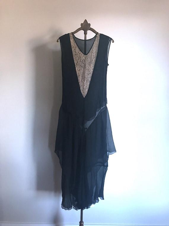 20s Dress Black Lace Flapper Antique XS - image 2
