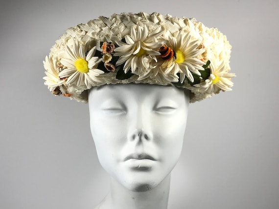 Hippie Hat . Daisy Flower Garden Bee