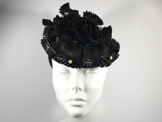 Black Ruffle Tilt Hat