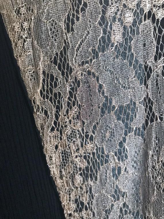 20s Dress Black Lace Flapper Antique XS - image 6