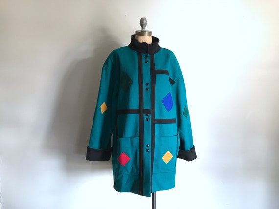 Green Shapes New Wave Coat Medium - Large
