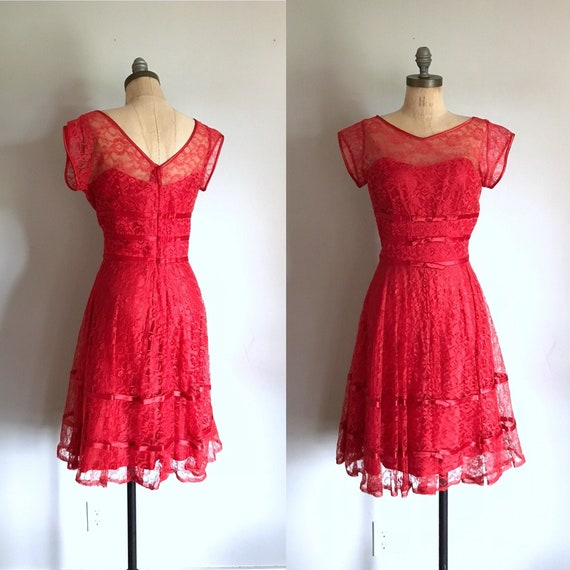 1950's Red Lace Formal Prom Dress