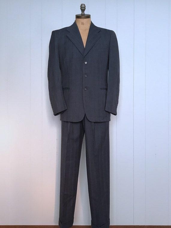 Mens Suit Set . Blue Wool Jacket Pants . 40s 1940s
