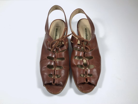 Brown Lace Up Summer Sandals 30s Style