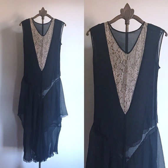 20s Dress Black Lace Flapper Antique XS