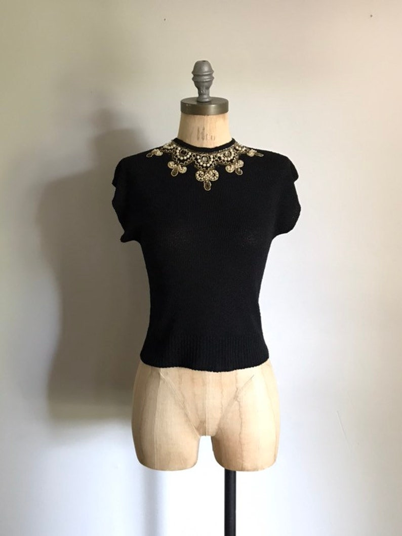 40s Black Knot Sweater Blouse Small S
