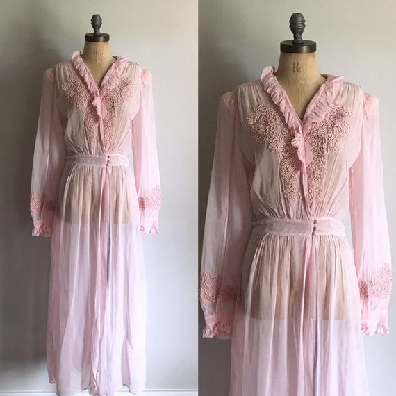 40s Robe . Pink Ruffle Maxi Dressing Gown . Old Ho