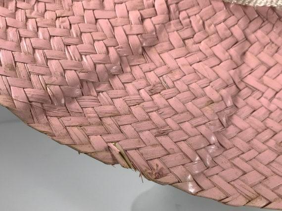 Pink Straw Sun Hat . Wide Brim Woven . Summer Bea… - image 5