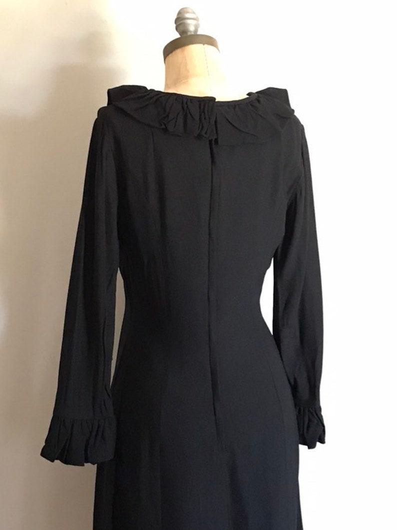 Black Rayon Small S Ruffle Dress Mod Shift