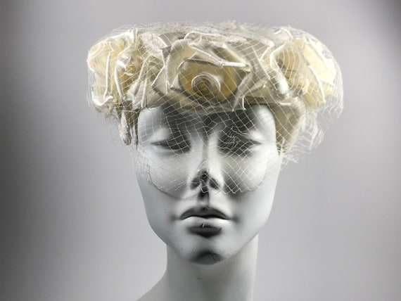Veiled White Rose Pill Box Hat