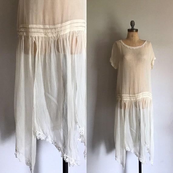 1920s Ivory Silk Wedding Flapper Dress