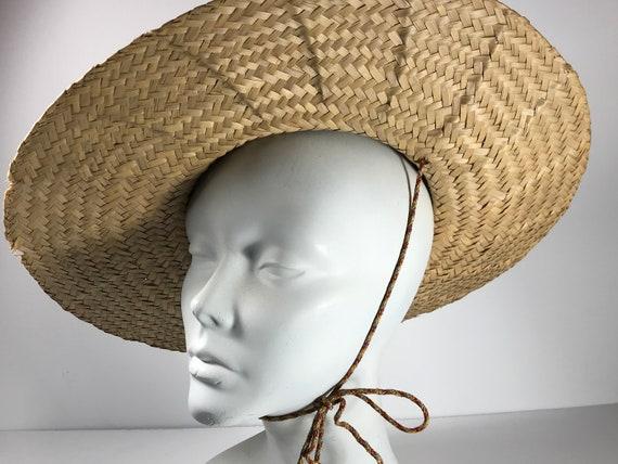 Pink Straw Sun Hat . Wide Brim Woven . Summer Bea… - image 3