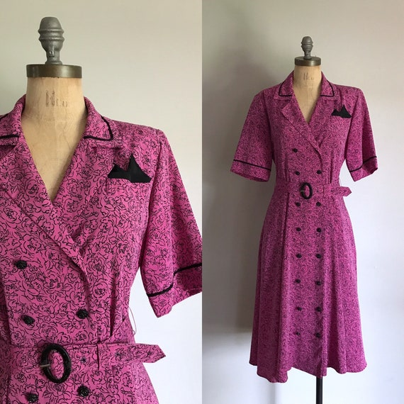 1980s Does 1940s Pink Rockabilly Dress