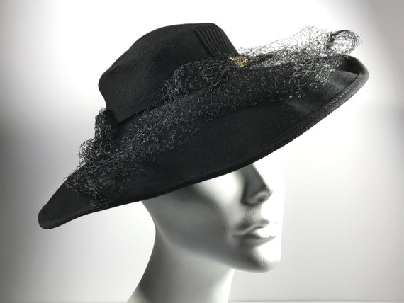 Wide Brim Hat Black 40s Gothic Vamp