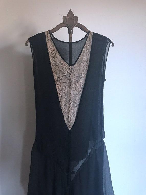 20s Dress Black Lace Flapper Antique XS - image 3