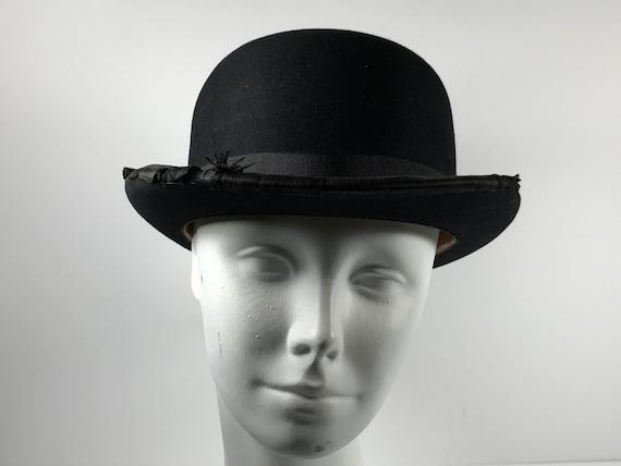 Worn Derby Bowling Hat . Antique Edwardian