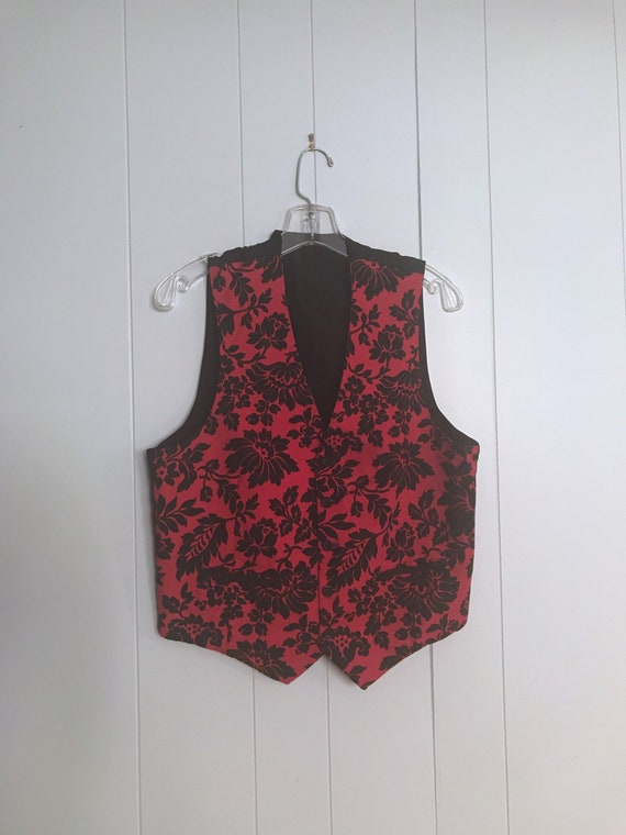 Vest Antique 30s Red Floral Print Dandy 40