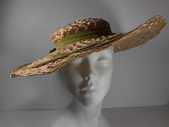 Straw Sun Hat . Wide Brim Woven . Summer Beach . … - image 1
