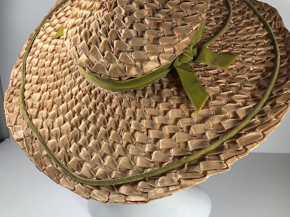 Straw Sun Hat . Wide Brim Woven . Summer Beach . … - image 5