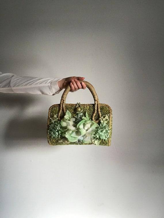 Basket Purse . Green Flower . Handbag