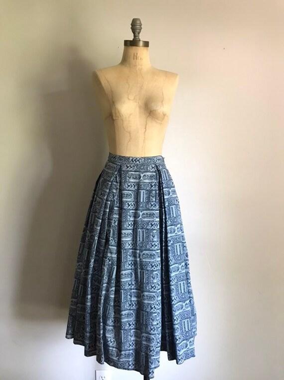 Blue Full Skirt . 50s Novelty Print . Small S