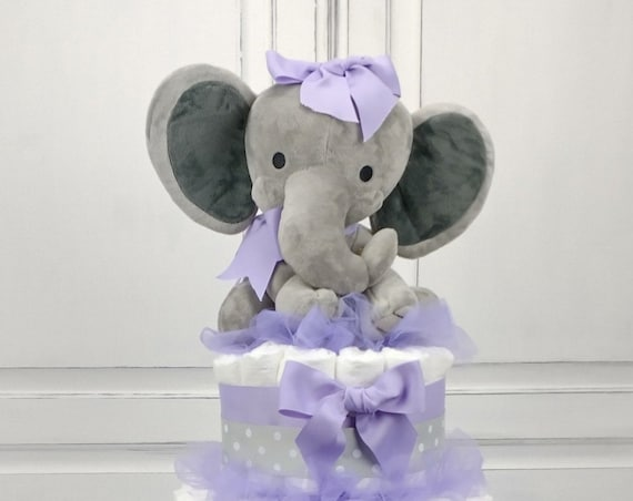 Diaper Cake Girl, Lavender Elephant Baby Shower Decoration, Lavender Centerpiece, Lavender Diaper Cake,  Baby Gift from Group