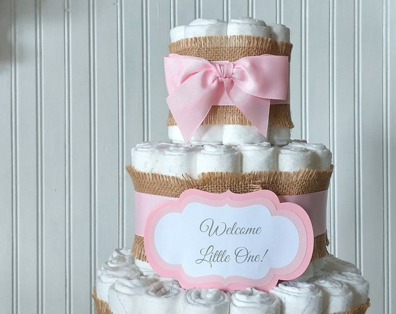 Boho Burlap Diaper Cake, Burlap Baby Shower Centerpiece Decoration, Diaper Cake with Ribbon 3 Tier Diaper Cake Baby Gift