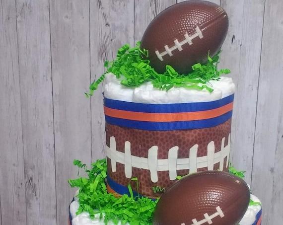 Diaper Cake Boy Football Baby Shower Team Colors Baby Shower Centerpiece Team Diaper Cake Baby Shower Decoration Sports Theme Boy Gift