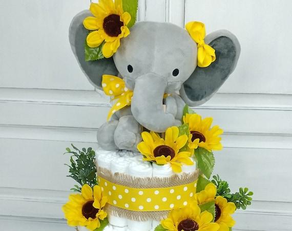 Diaper Cake Sunflower Elephant Diaper Cake Burlap Greenery Baby Shower Decor Sunflower Baby Shower Centerpiece Sunflowers