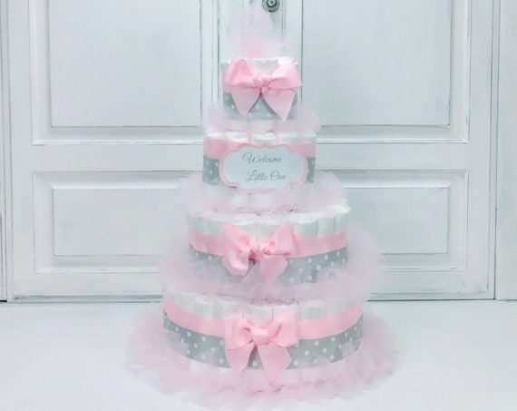 Girl Diaper Cake Elegant Pink and Gray Centerpiece for Girl Baby Shower Gift or Decoration