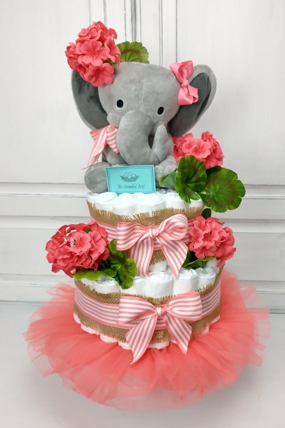 Floral Diaper Cake Girl, Elephant Diaper Cake, Coral Burlap Greenery Baby Shower Decor, Girl Baby Shower Centerpiece, Newborn Delivery Gift