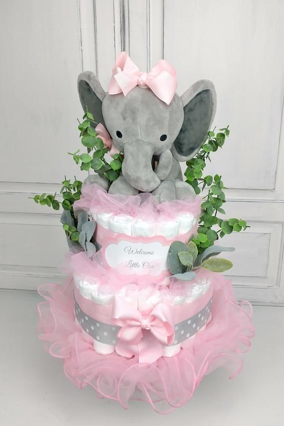 Diaper Cake Girl Pink Elephant Greenery Baby Shower Decoration Centerpiece Boho Baby Shower Unique Newborn Gift Pink Elephant Baby Shower