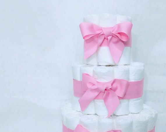 Plain Diaper Cake DIY Diaper cake for Boy or Girl Baby Shower Decor Plain Diaper Cake with Ribbon Baby Gift Baby Shower Centerpiece