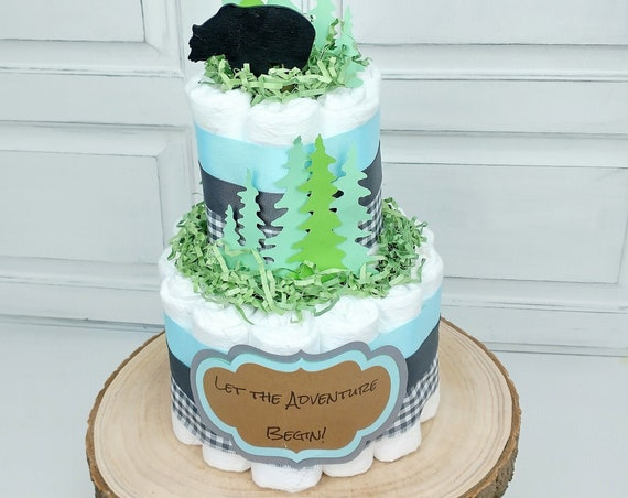 Bear Diaper Cake Boy Let the Adventure Begin Gray and Pale Blue Baby Shower Decor Bear Diaper Cake Outdoor Animal Theme Boy Gift from Group