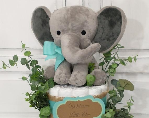 Elephant Diaper Cake Neutral Aqua Burlap Greenery Baby Shower Decoration for Baby Shower Centerpiece Elephant Baby Diaper Cake Gift