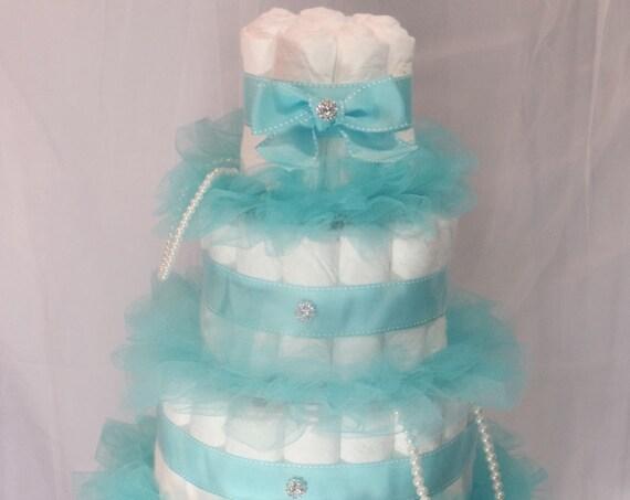 Diaper Cake, Girl Baby Shower Decorations, Teal Baby Shower Decorations, Diamonds Pearls, Fancy Baby Girl Diaper Cake