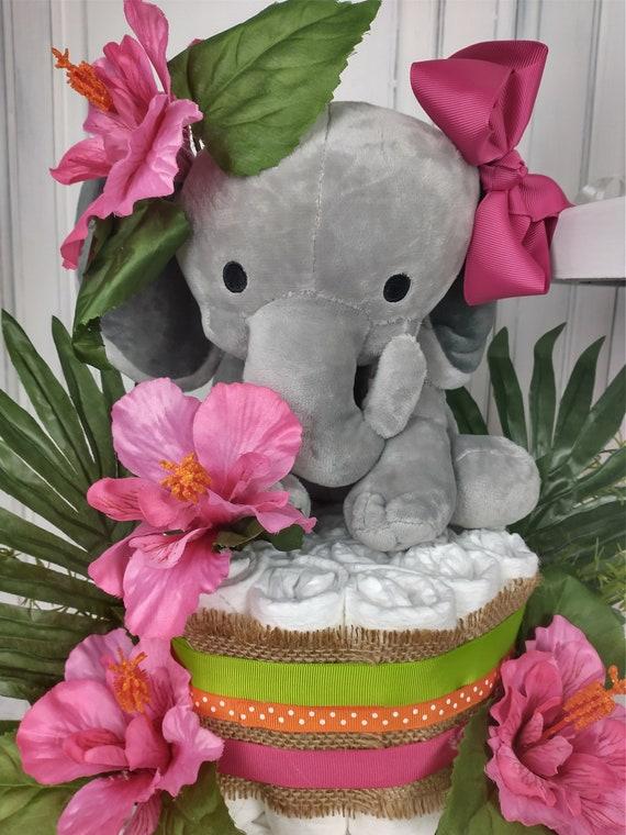 Diaper Cake Girl Tropical Elephant Diaper Cake Burlap Greenery Baby Shower Decoration Tropical Baby Shower Centerpiece  Tropical Diaper Cake