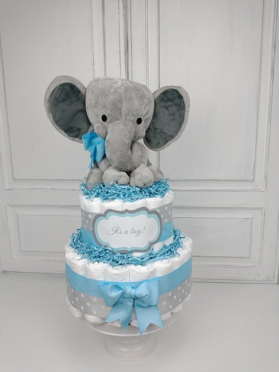 Elephant Diaper Cake Boy, Elephant Diaper Cake, Blue Baby Shower Decoration, Boy Diaper Cake, Welcome Little One, Baby Boy Gift